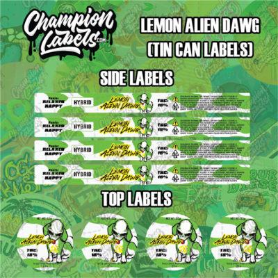 Lemon Alien Dawg tin can labels