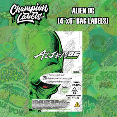 Alien OG pouch bag labels