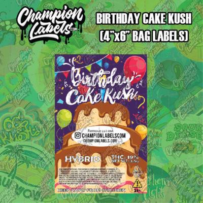 Birthday Cake Kush pouch bag labels