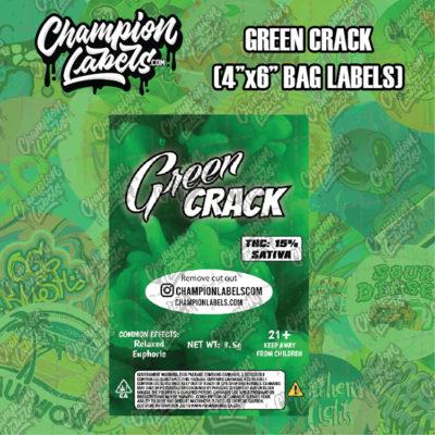 Green Crack pouch bag labels