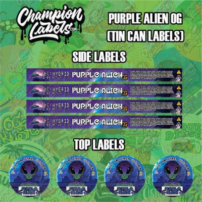 Purple Alien tin can labels