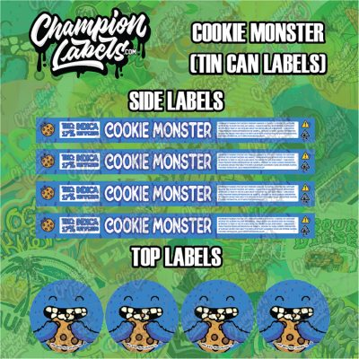 Cookie Monster tin can labels