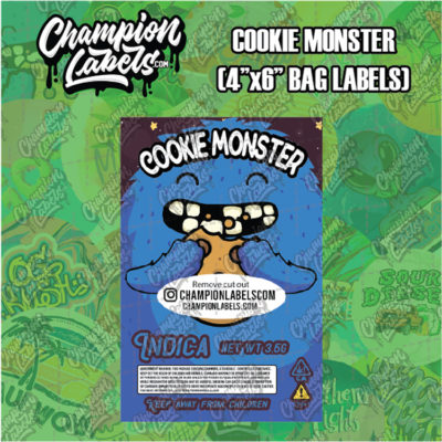 Cookie Monster pouch bag labels