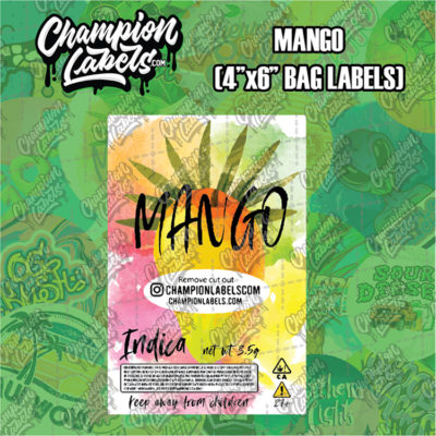 Mango pouch bag label