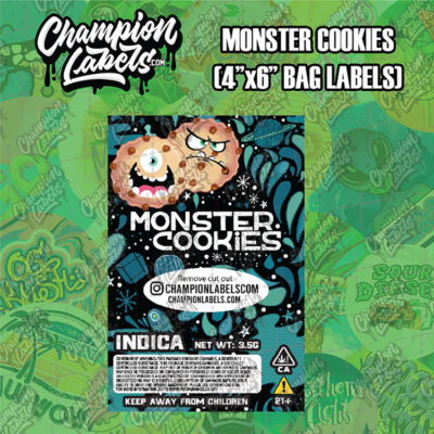 Monster Cookies pouch bag label