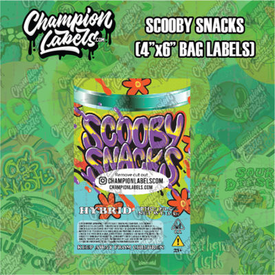 Scooby Snacks pouch bag label