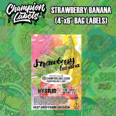 Strawberry Banana pouch bag label
