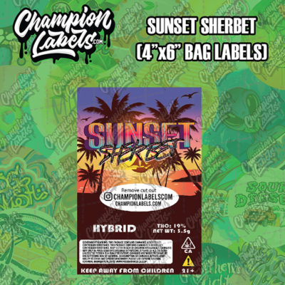 Sunset Sherbet pouch bag label