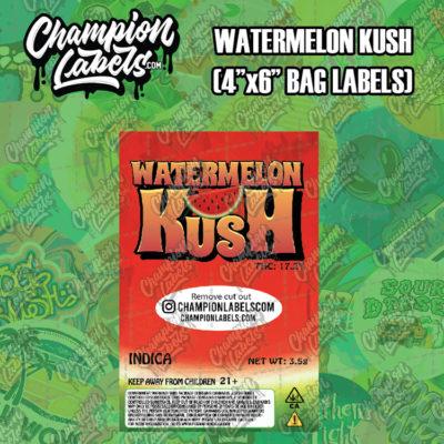 Watermelon Kush pouch bag label