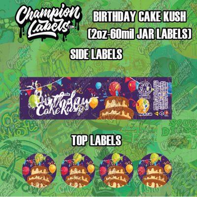 Birthday Cake Kush labels