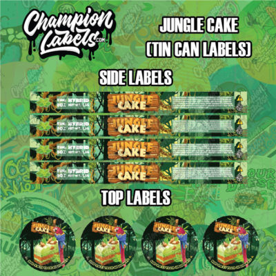 Jungle Cake tin can labels