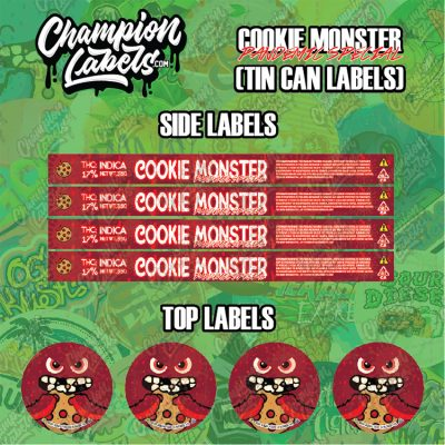 Cookie Monster Pandemic tin can labels