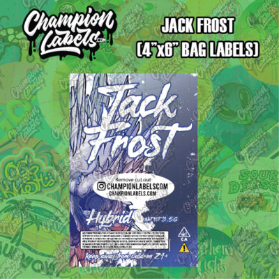 Jack Frost pouch bag labels