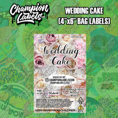 Wedding Cake pouch bag label
