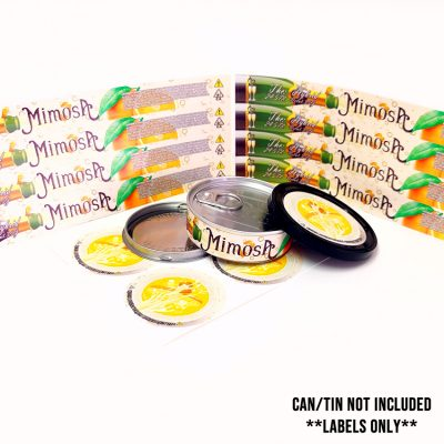 Mimosa tin can stickers