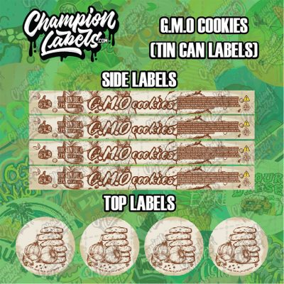 GMO Cookies tin can labels