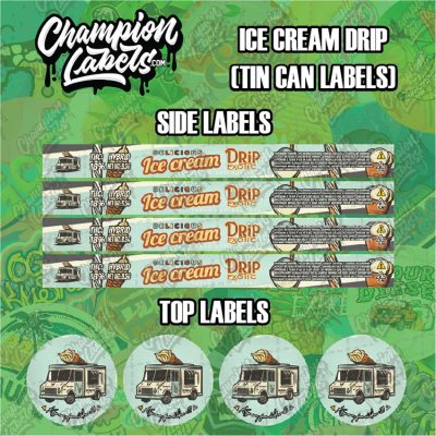 Ice Cream Drip tin can labels