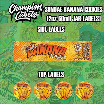 Sundae Banana Cookies jar labels